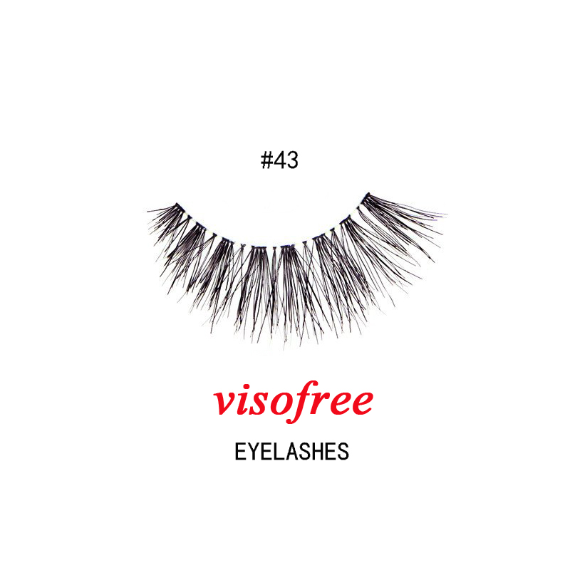 1Pair Visofree Eyelashes Fashion Soft False Fake Human Hair Eyelashes Adhesives Glamour Winged Eye Lashes Makeup Beauty #43