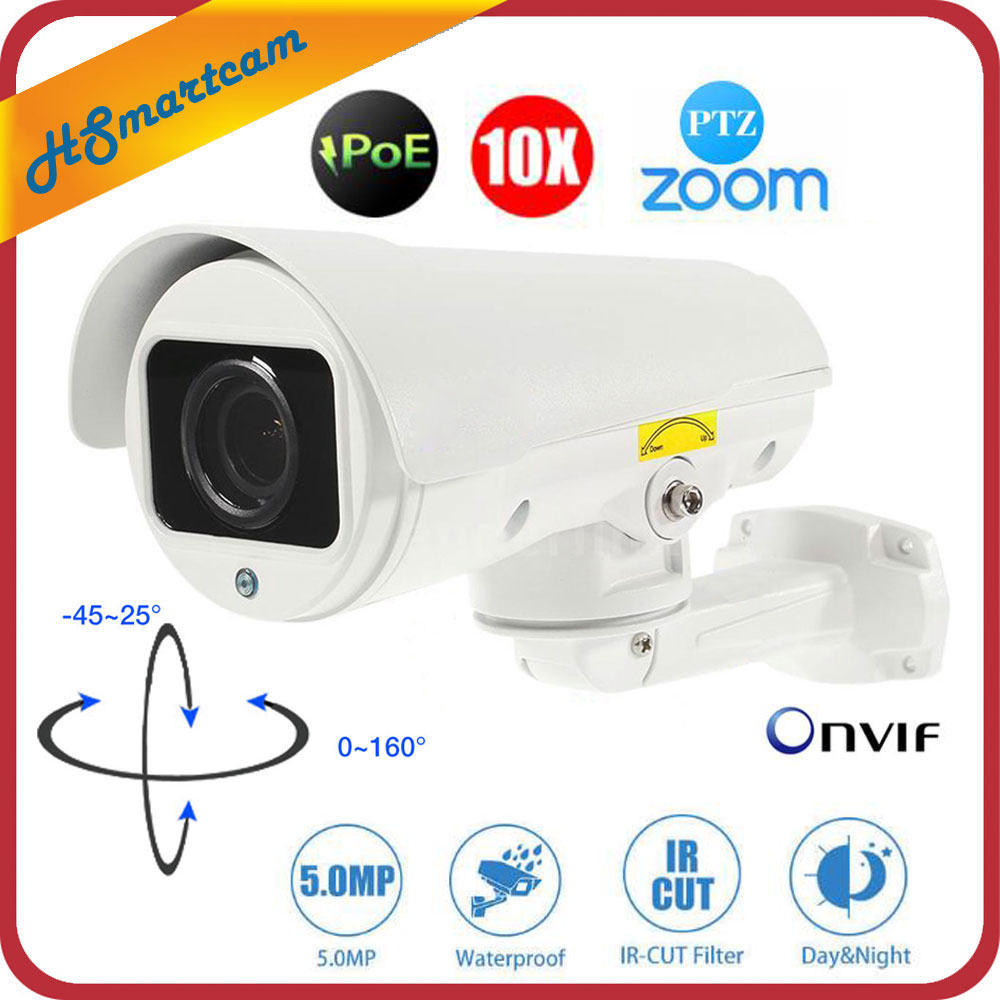 5.0MP Outdoor CCTV Security IP Camera POE HD 1080p 10X Optical Zoom H.265 Network IP Camera PTZ IR Night Vision Thunder Proof 1080p 2mp new h 265 ptz bullet poe outdoor network ip camera 5 1 51mm 10x optical zoom lens onvif cctv video ipcam rtsp cctv