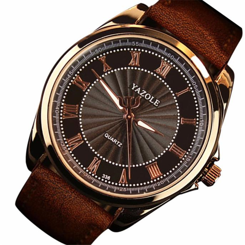 Fashion Men's Watch Date Leather Stainless Steel Military Sport Quartz Wrist Watch  Casual dropshopping free shipping  #50 mens silver stainless steel date quartz analog sport wrist watch 2017 2018 fashion style of fashion drop shipping au11