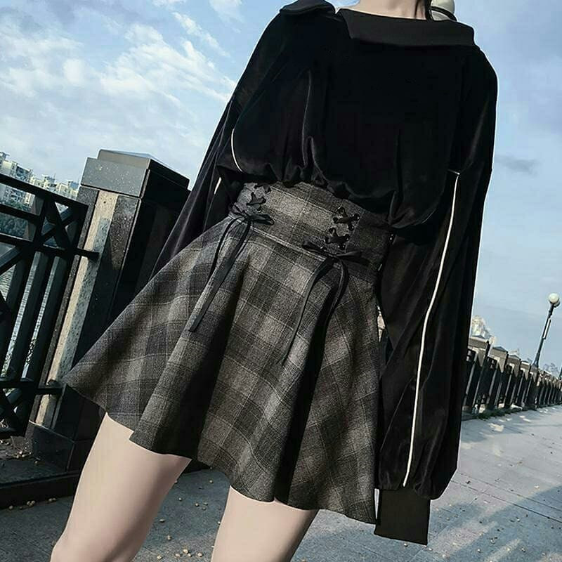 Elegant Plaid Pleated High Waist Skirt