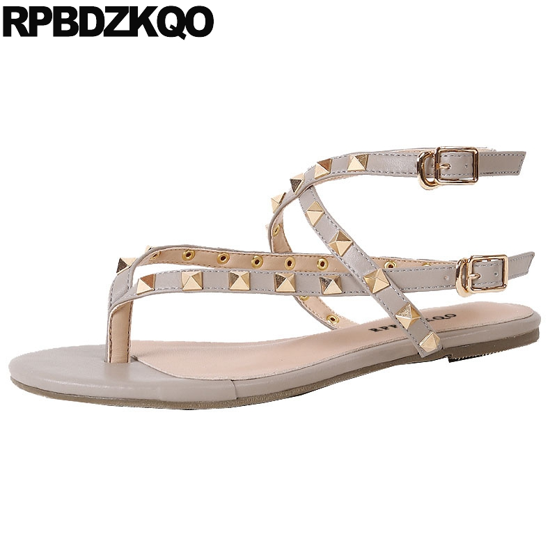 Rivet Rock Stud Shoes Gladiator Sandals Luxury High Quality Slingback 2018 Designer Strappy Roman Summer Thong Strap Flat Women mokingtop womens sandals flat women vintage cross strap summer roman gladiator strappy shoes flat heel shoes