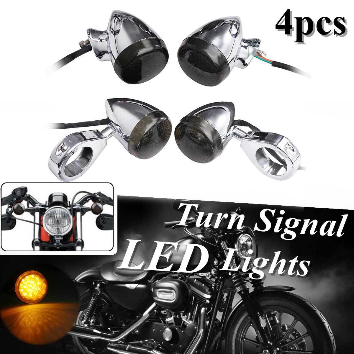 4 Pcs Front Rear Motorcycle LED Turn Signal Indicator Light For Davidson Sportster Dyna Motorbike with 39mm fork tube