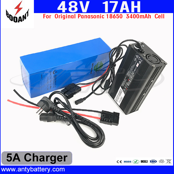 US EU Free Customs Duty Lithium 48V 1000W E-Bike Battery 48V 17Ah For Original Panasonic 18650 Cell With 5A Charger 30A BMS eu us free customs duty 48v 550w e bike battery 48v 15ah lithium ion battery pack with 2a charger electric bicycle battery 48v