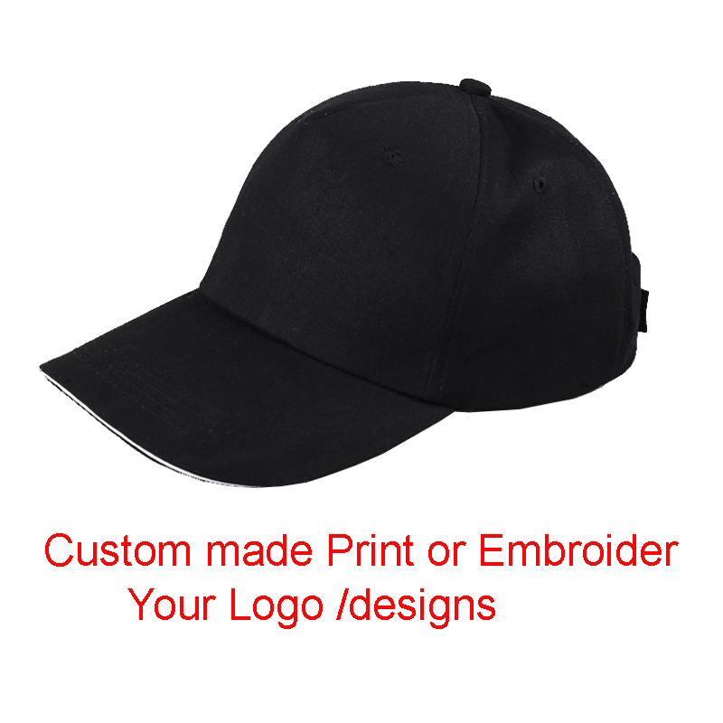 50 Pcs/lot For 1 Color Custom Made Print or Embroider your logo/designs Sanwich baseball cap adjustable visor Caps