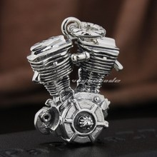 Heavy Rumble Motorcycle Engine 925 Sterling Silver Biker Rocker Pendant 8Q013(Necklace 24inch)