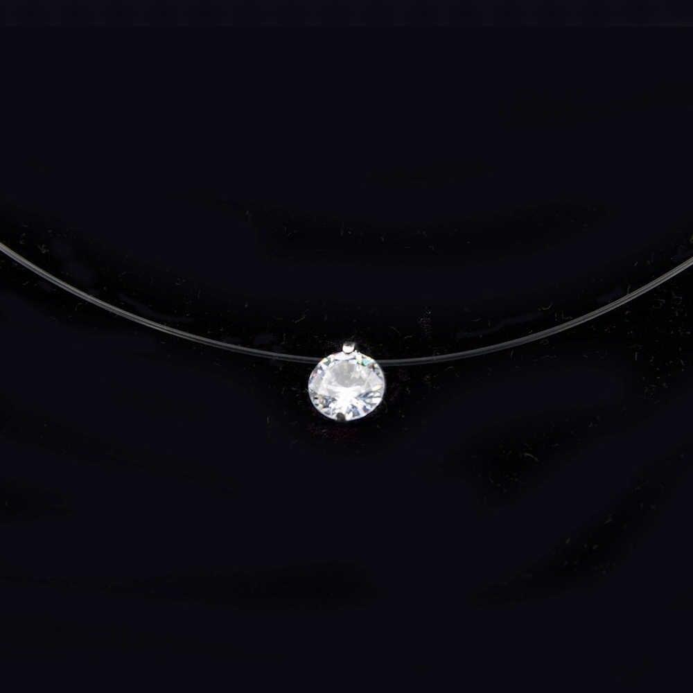 Poputton kobieta przezroczysta żyłka wędkarska naszyjnik srebrny niewidzialny łańcuszek naszyjnik kobiety Rhinestone Choker naszyjnik Collier Femme
