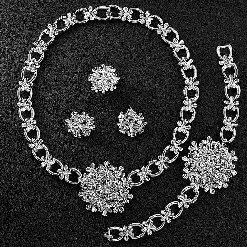 Sunny Schmuck Zirkonia Große Blume Frauen Braut Schmuck Sets Hochzeit Halskette Ohrringe Ring Armband Nette Romantische Schmuck