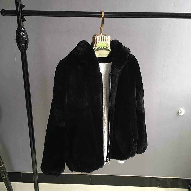 Peau De Grey Fourrure Lapin black Entière Chaud Nouveau Manteaux Épais Vraie Femmes Rex Hiver Capuche Automne Vestes À Naturel 2018 UEqBHvcv