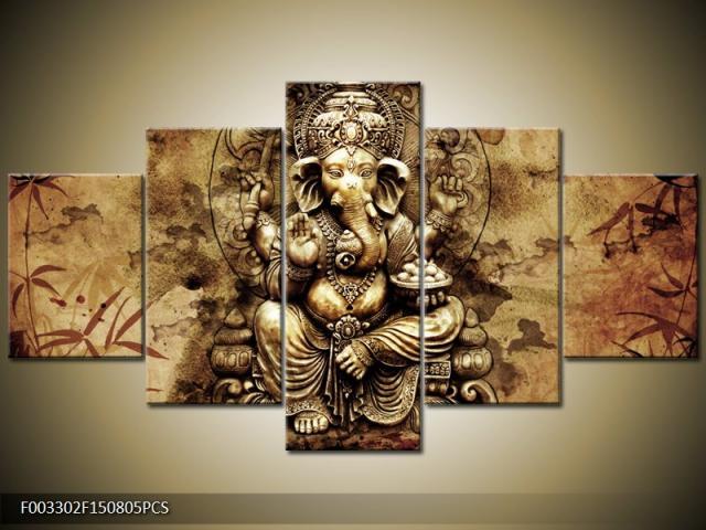 5 Panel Print Abstract Printed Hotoke Buddhism Buddha Oil