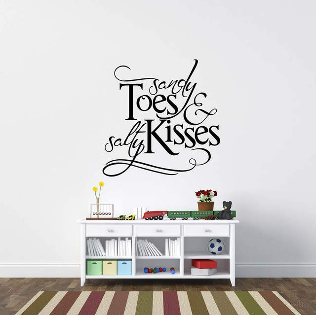 US $13.71 8% OFF|Sandy Toes And Salty Kisses Beach Wall Stickers Inspired  Lettering Wall Decals Wall Quotes Island Decors 612Q-in Wall Stickers from  ...