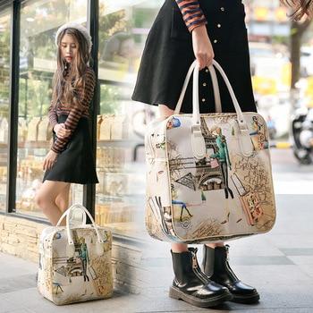 New PU Travel Bag Woman Handbags Portable Cartoon Luggage Bags Fashion Square Men hand luggage luxury duffle bags - discount item  30% OFF Travel Bags