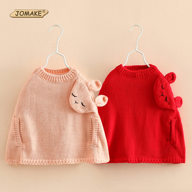 Kids Knitted Sweater Cloak 2016 Autumn Children Clothing Cartoon Girls Japanese Style Cute Rabbit Decoration Pullover Cape Coat