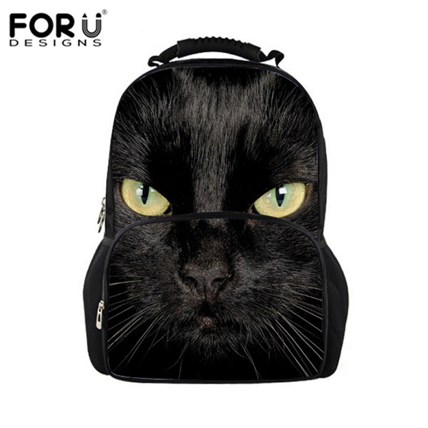 FORUDESIGNS Black Cat Backpack Women Harajuku Style Backpacks for Teenager Girls Cute School Bag Animals Printing