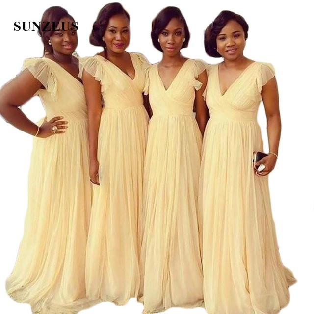 African Yellow Chiffon Prom Dresses  A-Line V Neck Ruffles Sleeve Bridesmaid Dresses Long Black Girls Wedding Party Gowns  SBD28
