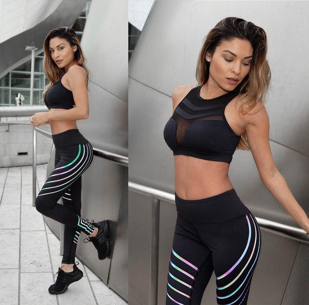 Women Pants Sports Running Sportswear Fitness   Leggings   Exercise Gym High Waist Striped Pants