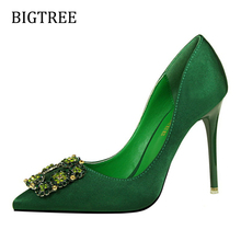Size34-39 Sexy Super High Heels Platform Shoes Women Shallow Mouth Pointed Rhinestone Buckle Ladies Pumps W02586-40