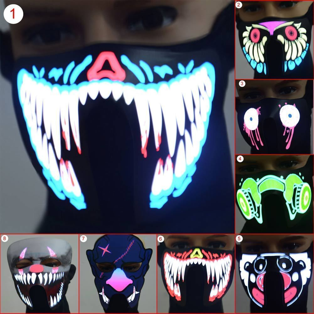 Halloween Half Face LED Luminous Flashing Face Mask Hats Party Event Masks Light Up Dance Halloween Cosplay Caps 20x12cm