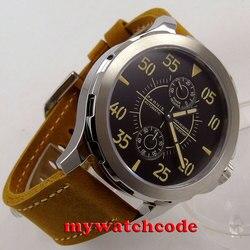 44mm czarna tarcza parnis koperta ze stali szafirowe szkło st 2542 automatyczny męski zegarek