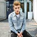 Camisa de los hombres de manga larga de mezclilla camisa jeans brand clothing clothing prendas de vestir exteriores delgada camisa de los hombres camisa de los hombres 100% de algodón nueva 2017