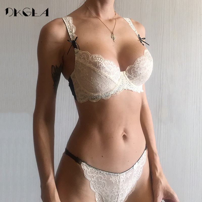 2019 Ultrathin Underwear Sexy   Bra     Set   Plus Size 38 40 White Lace   Bra   Embroidery Women Transparent Lingerie   Set   Brand Brassiere