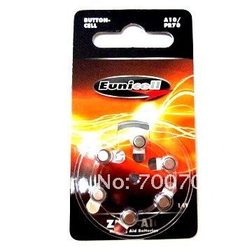 Free shipping+ Wholesale price( 200 cards=1200 pieces)+1.4V A10 PR70 hearing aid battery zinc air button cell battery