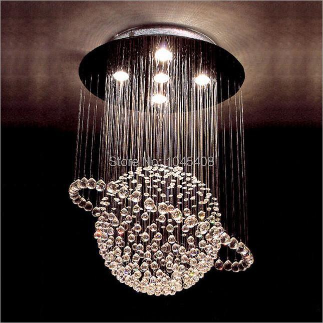 Modern GU Globe Crystal Line Light LED Luxury Crystal Sitting - Light fittings for bedrooms