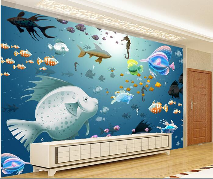 3d wallpaper custom mural non woven wall sticker 3 d ocean for Aquarium mural gifi