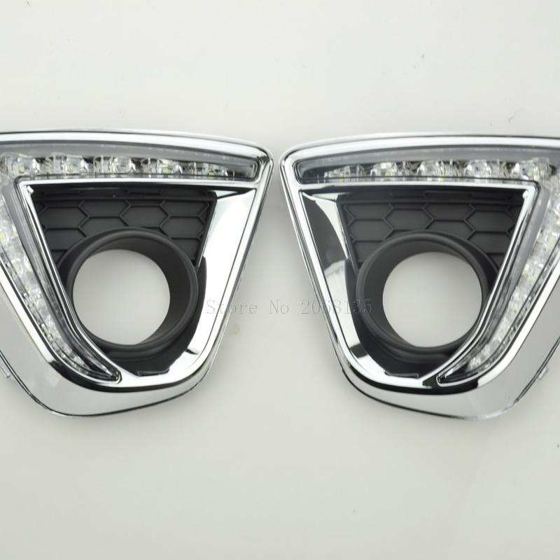 LED Car DRL Daytime Running Lights with black matt Fog lamp hole for Mazda CX-5 CX5 12- 16 White yellow turning to night <font><b>Blu-ray</b></font>