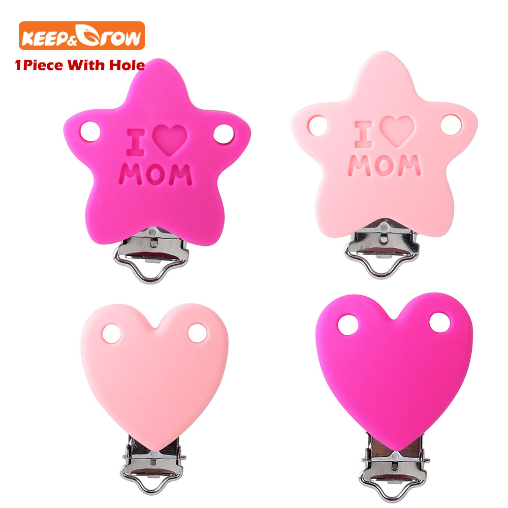 Keep&grow 1Pc Baby Pacifier Clip Star Silicone Pacifier Holders Safety Hole Newborn Baby Feeding Supplies Dummy Teething Toys