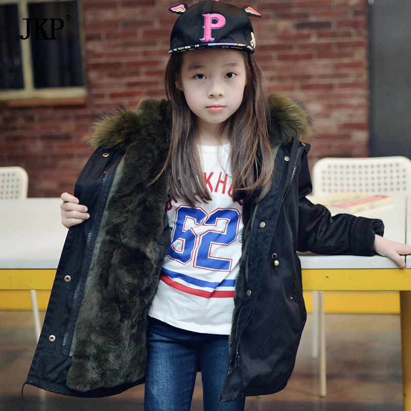 JKP explosion models really fox fur collar rabbit fur lining coat jacket autumn and winter warm natural raccoon fur collar coat boys and girls rabbit fur lining jacket children big fox fur collar coat winter intensive warm jacket children fur collar coat