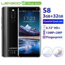 LEAGOO S8 3GB 32GB נייד טלפון אנדרואיד 7.0 5.72 מלא תצוגת MTK6750T אוקטה Core 13MP 4 מצלמות זיהוי טביעת אצבע 4G Smartphone