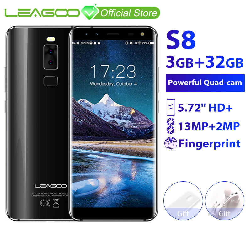 LEAGOO S8 3GB 32GB Mobile Phone Android 7.0 5.72'' Full Display  MTK6750T Octa Core 13MP 4 Cameras Fingerprint ID 4G Smartphone-in Cellphones from Cellphones & Telecommunications    1