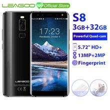LEAGOO S8 3GB 32GB Mobile Phone Android 7.0 5.72'' Full Display MTK6750T Octa Core 13MP 4 Cameras Fingerprint ID 4G Smartphone(China)