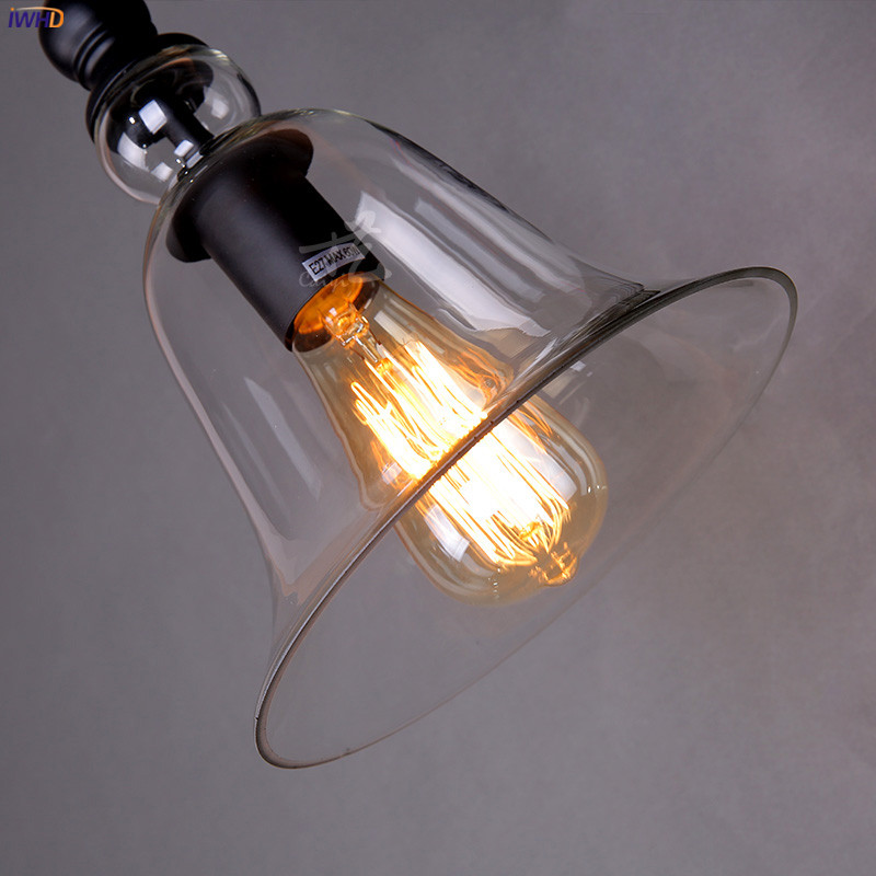 IWHD Glass Loft Antique Vintage Wall Lamp Bedroom Living Room Stair Edison Retro Industrial Wall Lights Fixtures Wandlamp LED