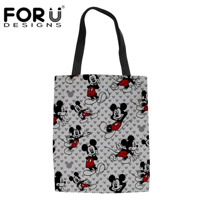 77a3f478f8 FORUDESIGNS Cartoon Mouse Pattern Shoulder Bag for Ladies Eco Canvas Linen Tote  Large Messenger Bags Girl Casual Women s Handbag