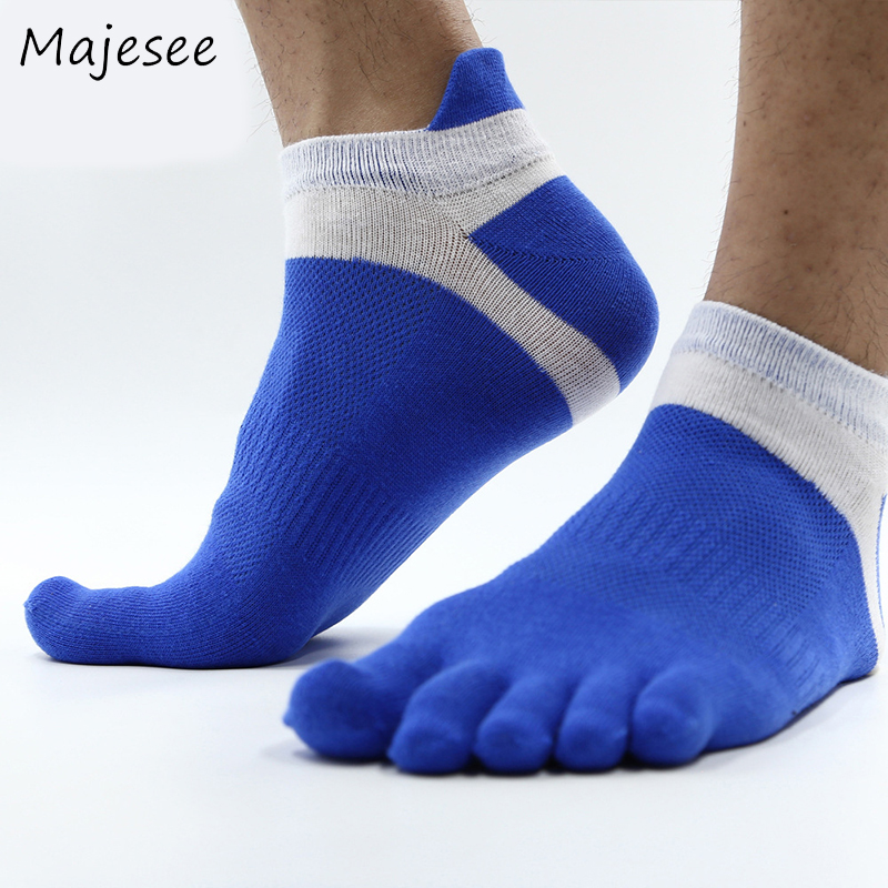 Trendy Cotton Mens Funny Socks Men Breathable Patchwork Toe Sock The Four Seasons Comfortable 7 Colors Deodorant Fashion Style