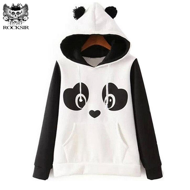 Kawaii Women's Panda Fleece Pullover Hoodies Harajuku Cute Hooded ...