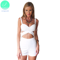 Summer Sexy Women's Jumpsuit Chest Cross Blank Condole Beach Pants 2017 Fashion Female White Sheath Hollow Out Playsuits CSJ25