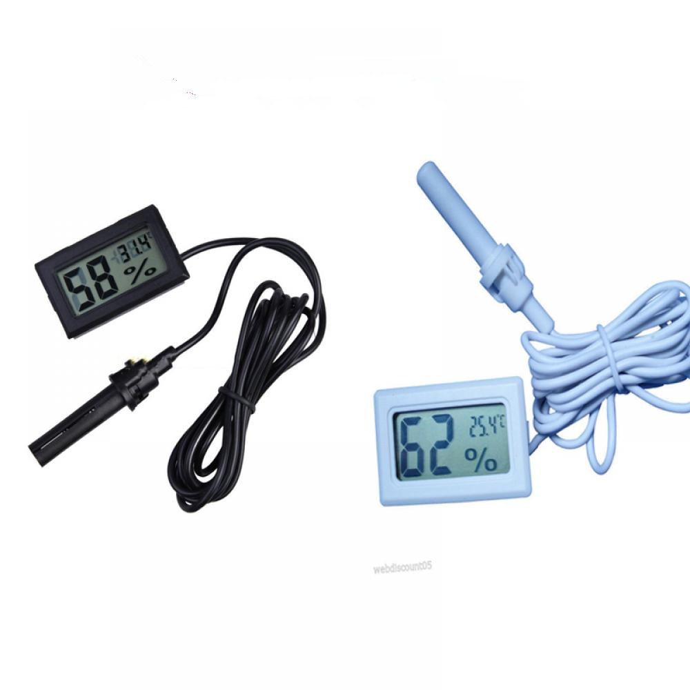 Digital Mini LCD Thermometer Hygrometer Temperature Indoor Convenient Temperature Sensor Humidity Meter Gauge Instruments Cable