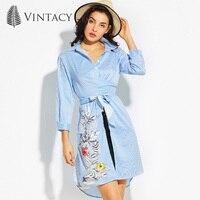 Vintacy Women Long Striped Shirt Split Belt Three Quarter Sleeve Blouse Top 2017 Floral Casual Blue
