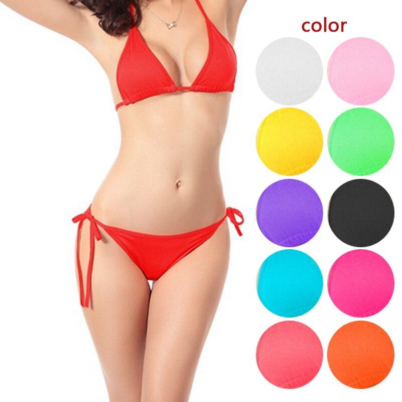 где купить 2017 Simple Design Women Swimwear Sexy Bikinis Thong Bottom Bathing Suit Push Up Brazilian Bikini Solid Color Swimsuits BB55 по лучшей цене