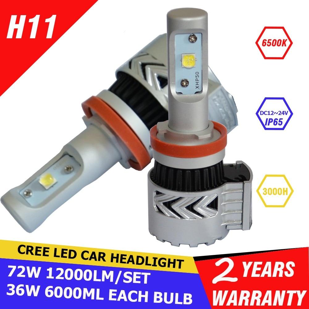 ФОТО 2pcs H11 72W 12000LM 6500K CREE Chip XHP50 LED Car Headlight Conversion Kit Fog Lamp Bulb DRL Super White 9005 H7 9006 9012 HB3