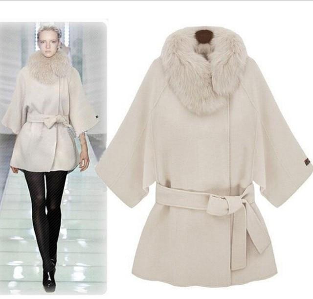 0e8653b1c52 2018 Autumn winter Fashion Women wool coat Loose outerwear warm coat  elegant fur collar woolen jacket cashmere jacket plus size