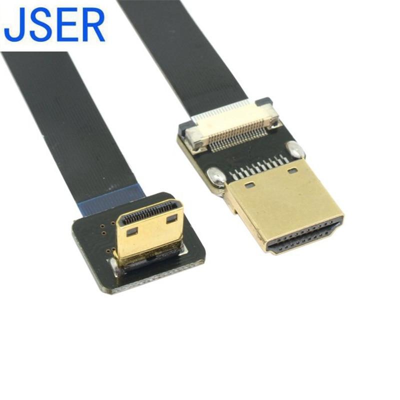 50cm 90 laipsnių žemyn kampinis FPV mini HDMI vyriškas į HDMI vyriškas FPC plokščias kabelis multikopterio aerofotografavimui 10cm 20cm