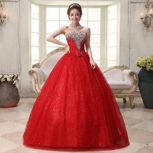 Image 4 - リアルフォトカスタマイズ 2020 韓国スタイル甘いロマンチックな古典的なレース赤王女のウェディングドレスストラップレスマリアージュのウェディングドレス