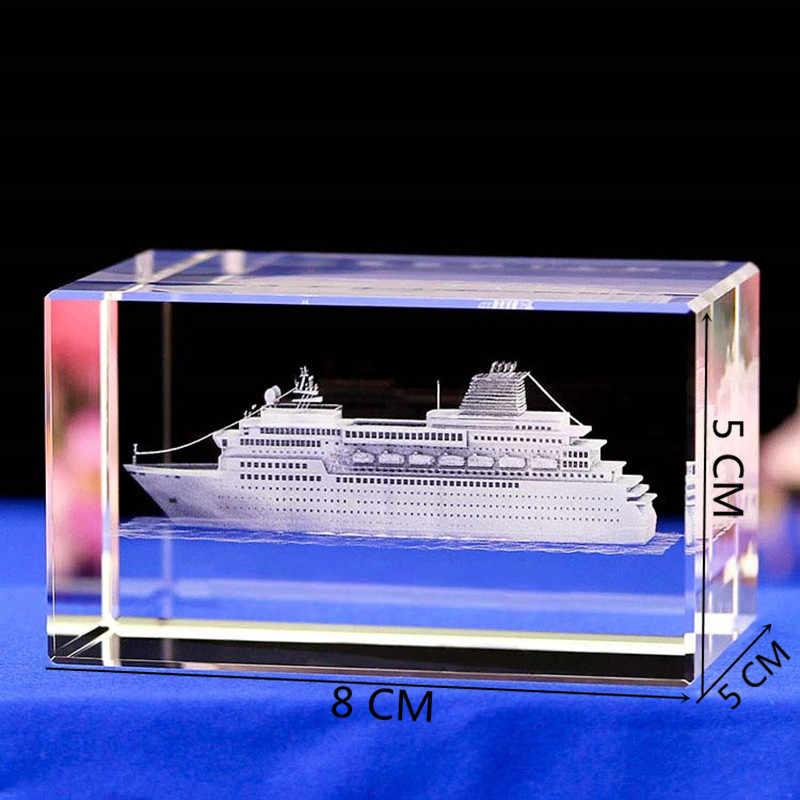 3D Intagliato Modello di Barca di Cristallo 3D Incisa Al Laser Rettangoli K9 di Cristallo di Lusso Modello di Nave Da Crociera Scultura Bianco Artigianato Souvenir