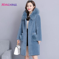 HANZANGL Women Large Wool fur collar Karakul Sheep Fur coat female long section winter 2018 Korean version coats Jackets