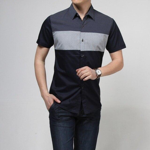2016 dress shirt men slim fit fashion black&white short sleeve causal shirts men 100% cotton shirts for men
