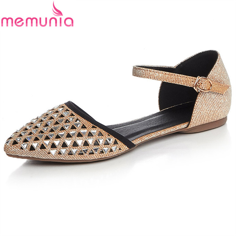 MEMUNIA big size 34-42 new arrive spring summer rhinestone women flat shoes simple top quality fashion pointed toe single shoes spring and summer women shoes pointed toe bow flat shoes patent leather pregnant shoes fashion female small big size