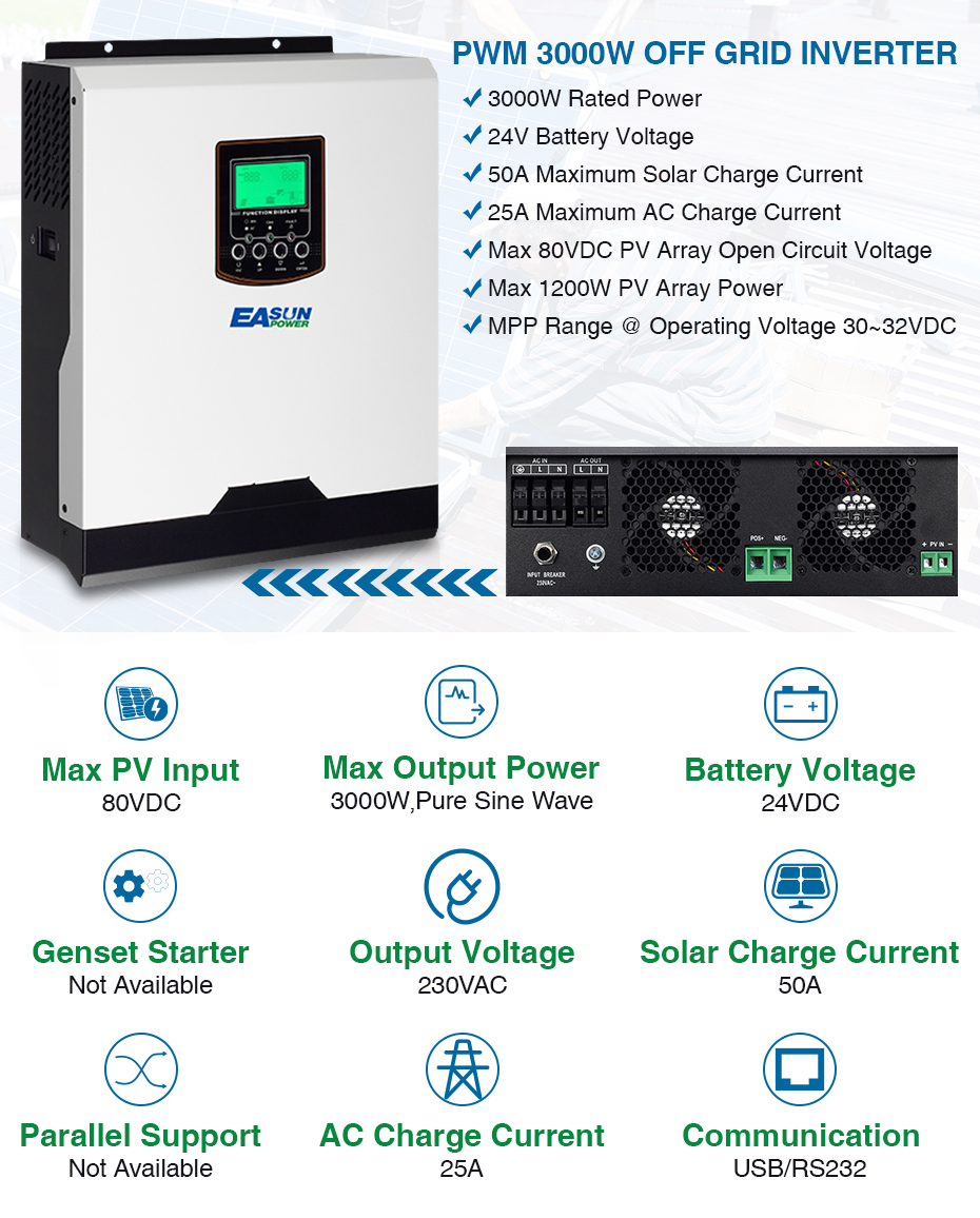 Easun Power Pwm Solar Inverter 3000w 24v 220v 50a Pure Sine Wave Diagram Of The Puresinewave Within An Pv Offgrid System 3kva 50hz Off Grid